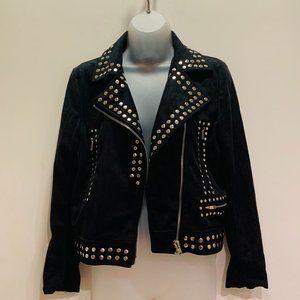 Olivaceous Faux Suede Studded Crop Moto Jacket